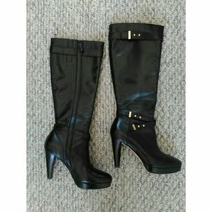 Cole Haan Knee High Leather Ankle Strap Boots SZ 7